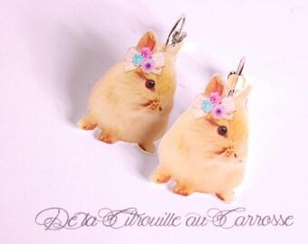 Bunny bow beige lace Flower Earrings