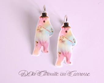 Bear earrings pastel kawaii barley sugar top hat