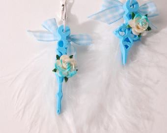 Clock hands, feather, flower, blue and white earrings