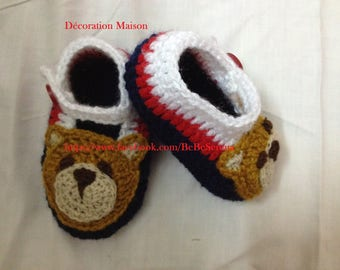 striped with Teddy bear crochet baby shoes