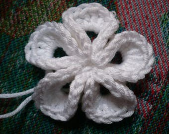 kanzashi flower crochet white cotton, crochet flower applique