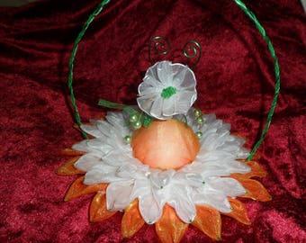 orange and white flower wedding ring cushion