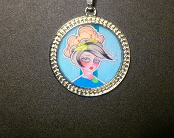 Necklace resin woman tattoo old school rockabilly pinup punk lolita vintage