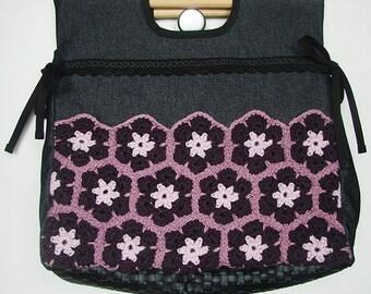 Elinor plum bag - handbag - denim and cotton net