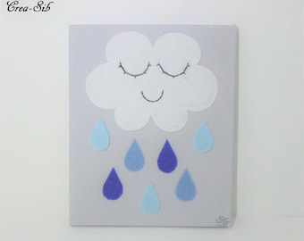 """Painting """"Cloud and raindrops"""" shades of blue white gray"""