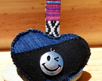 Fabric heart Keyring jean - mothers day / Valentines / anniversary