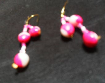 colorful polymer clay and beads earrings