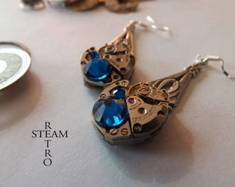 Steampunk Saphire earrings Steampunk jewelry Steamretro