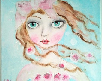 Lady with the pink bow and glittery and romantic flowers