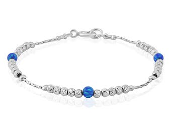 Sparkling Silver Dark Blue Opal Bracelet