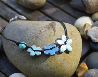 Greek ceramic, waxed cotton necklace
