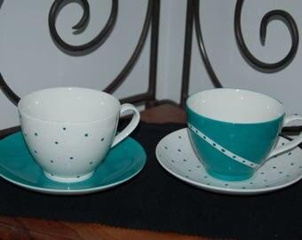 Duet of Limoges porcelain mugs