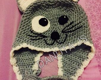 Mixed cat Hat handmade crochet with acrylic yarn