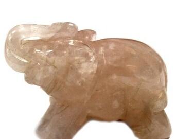 This quartz elephant figurine pink 5cm