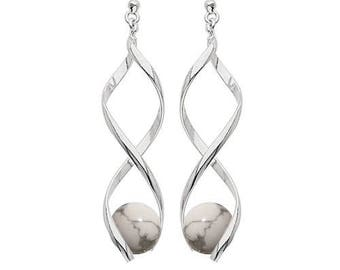 Silver plated swirl earrings - howlite