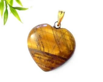 Heart pendant plated gold - Tiger eye