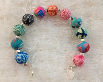 Polymer clay colorful Beads Bracelet