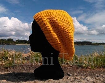 """Seaside"" hat around 58 cm Crochet yellow/plum color acrylic"