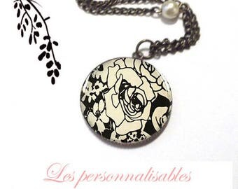 NECKLACE BRONZE black rose metal and glass dome