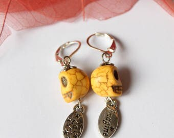 silver plated pale yellow howlite stone earring