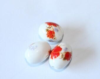 olive ceramic floral bead, 20 * 15 mm