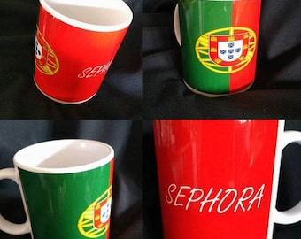 Mug Portuguese flag personalized with the name of your choice