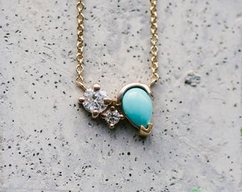 Double Diamond Turquoise Necklace