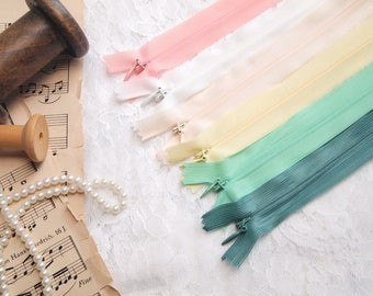 """6 pieces Invisible Zippers// 54cm (21"""", 22"""")// assorted colors, white"""