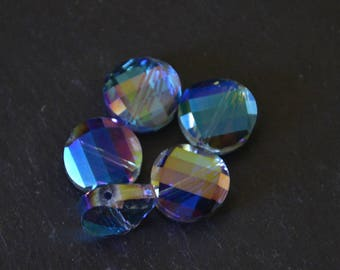 Lot 5 flat Electroplaquees 14mm faceted beads