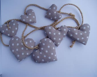 Beige hearts Garland with white polka dot and rope