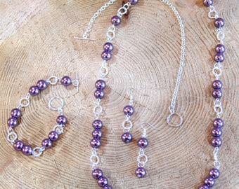 Lilac Purple Pearl Twist Set, Pearl Necklace, Pearl Earrings, Pearl Bracelet,  Gift for Her, Mothers Day Gift, Pearl Jewellery Set