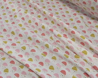 Jersey white patterned pink/mustard 25 x 160 cm