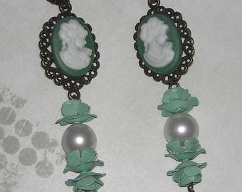 Old cameo green earrings