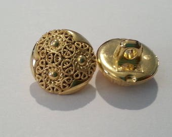 Set of 2 buttons from the 40s (gold) flowers