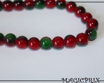 Set of 25 stained 8 mm glass pearls m1411 green & Burgundy