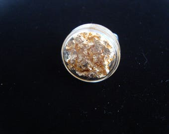 "Round ring ""gold foil"" blown puck shape filled with shavings of gold leaves"