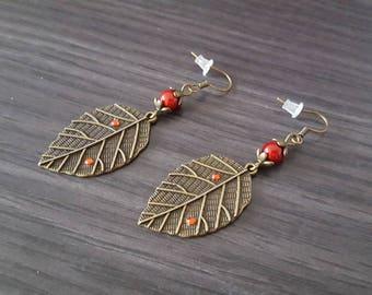 BO leaf red rhinestone