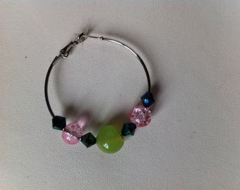 Hoop earrings with pink, green and blue/purple beads