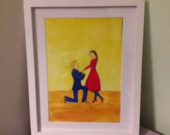 Marry me - couple painting - proposal - valentines gift - home decor - original A4 acrylic painting