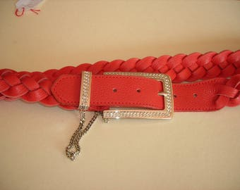 Women leather belt braided four strand red.