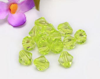 yellow-green 10mm bicone glass beads # 3 c