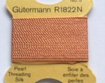 Silk thread for stringing salmon pink pale n ° 5