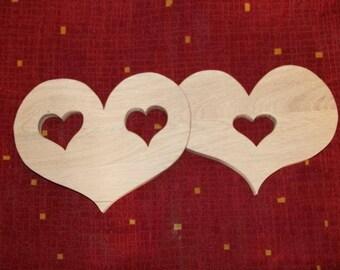 Flat duo heart wooden coasters