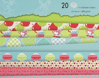 Block background papers A5 sweetness of childhood - 20 sheets - Ref 95205C
