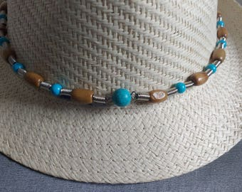 Hat trick country Brown wooden beads and turquoise gemstones
