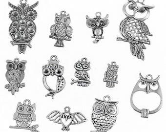 12 charms pendants mixed OWL within 15 days