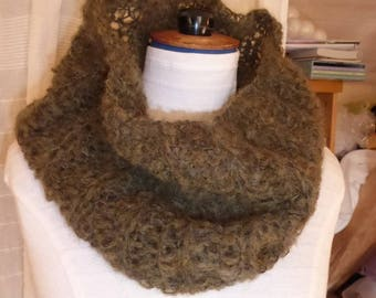 MOSS green hand knitted Snood with mohair