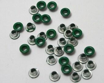 Dark green set of 40 eyelets