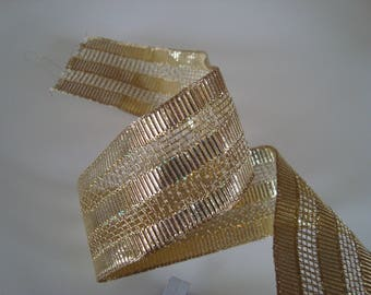 2.50 meters of metallic gold 35 mm wide ribbon