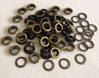 Eyelet brass lot 20 pieces with slices of 14mm x 8.5 mm x 5 mm for bags curtains leather ties